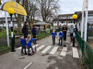 Solar powered belisha beacon and crossing installed in school playground